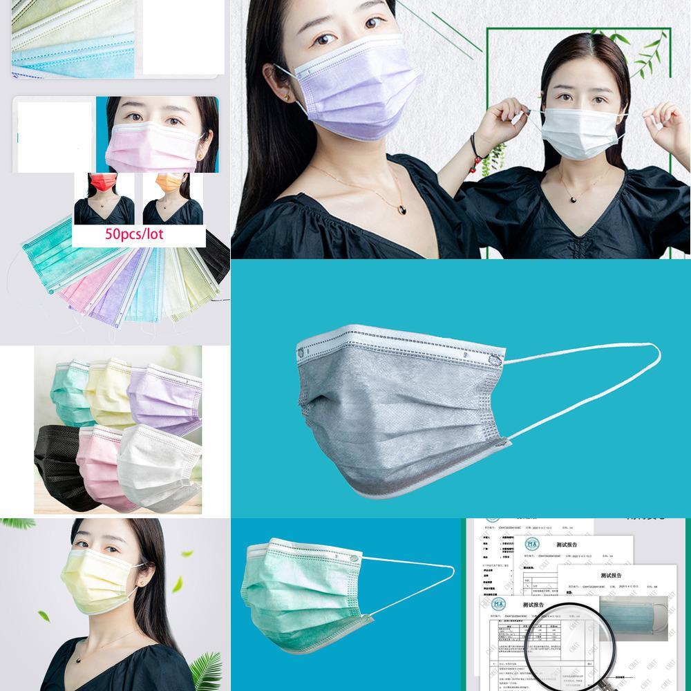 DHL Одноразовые маски для лица маски для взрослых красочные маски 3 слоя Доры Серый Розовый Dust Рот Обложка 3-слойный Нетканые