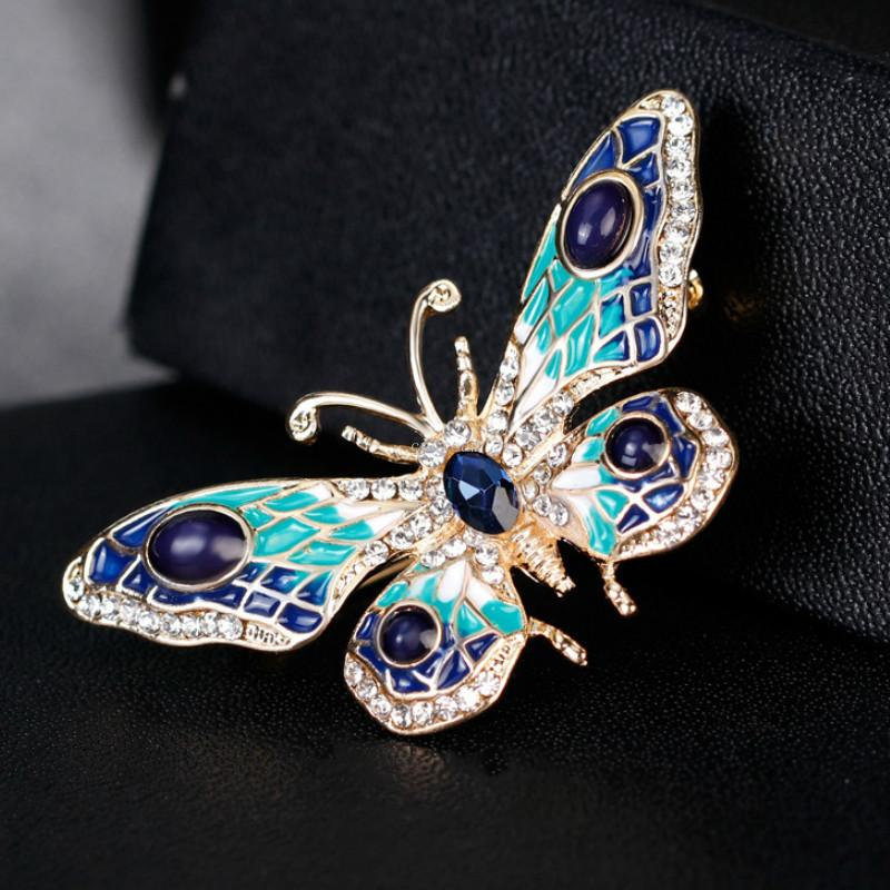 Fashion Gold butterfly brooch colorful diamond butterfly corsage scarf buckle dress suit brooches women fashion jewelry will and sandy gift