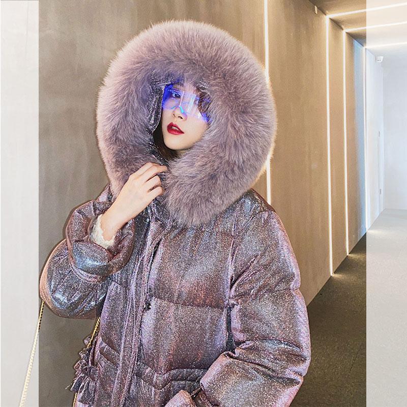 Moda kış Aşağı Ceket Kadınlar 2020 Kore Uzun Sıcak Kadın Parkas Yıldız Shining Coat Bayan Giyim Kürk Yaka WPY1875