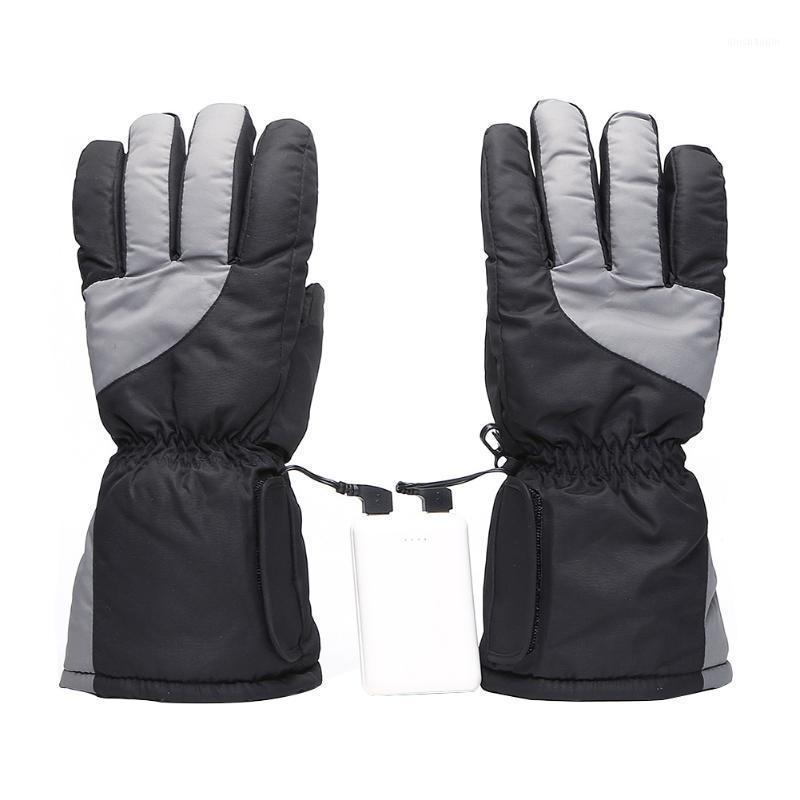 Guantes de esquí protectores engrosados de invierno escalada batería eléctrica eléctrica calefacción ajustable montando nieve patinando cinco dedos1