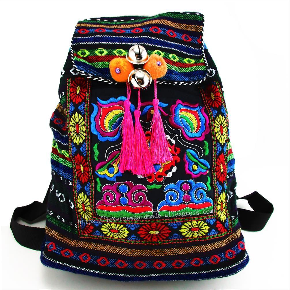 Tribal Vintage Hmong Thai indiani etnica ricamo Bohemian zaino Boho hippie etnico zaino dimensione della borsa L SYS 170E