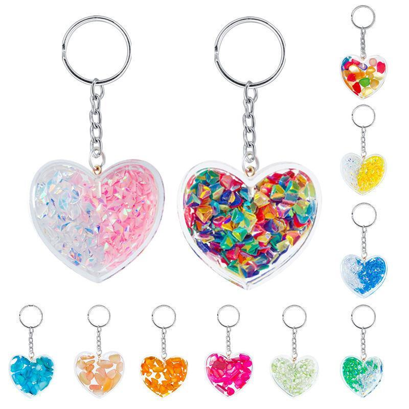 Amore Portachiavi cuore in acrilico trasparente del telefono cellulare cinghie pendenti di fascino universale sveglio di colore Ghiaia paillettes multicolor