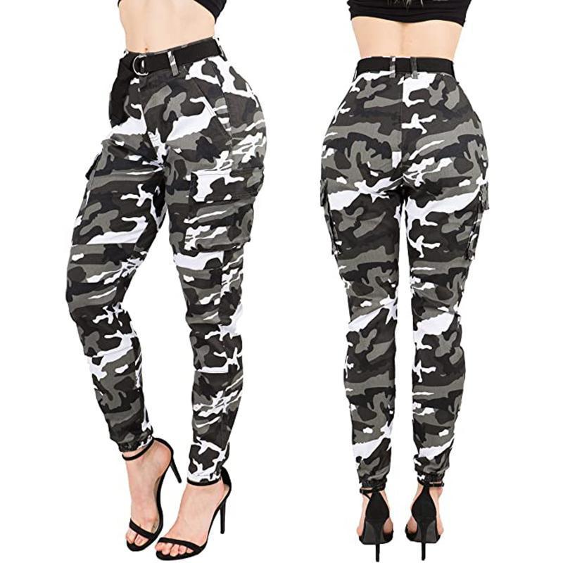 Hose mit hohen Hüfte Tarnung Slim Fit Jogger Frauen Armee Harem Camo Pants Streetpunk schwarz Cargo Capris Hose # T2G