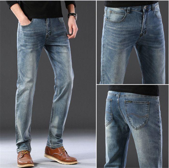 2020 Fashionable men's slim elastic jeans 8879