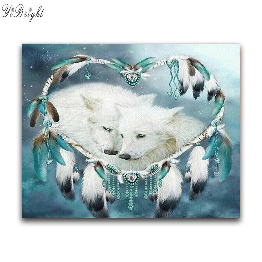 Plein Square / Round Drill 5D bricolage diamant peinture « ensembles loup Love » strass croix broderie 3D point mosaïque Décor cadeau