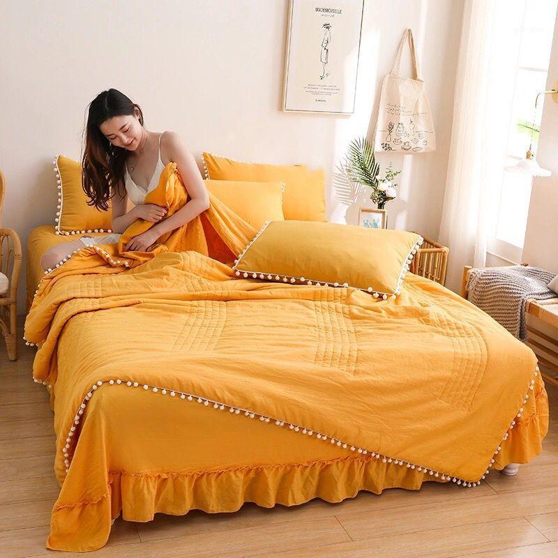 2020 Yeni Yatak Yorgan 1 ADET + Yastık Kılıfı 2 Adet Yaz Pamuk Yorgan Klima Yıkanmış Yıkanabilir Yatak Seti 3 Lase Kapak1