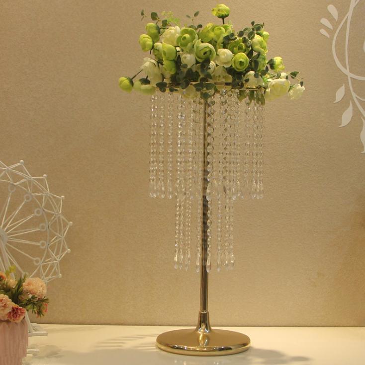 10 adet Akrilik Kristal Düğün Çiçek Topu Tutucu 60 cm Masa Centerpiece Vazo Standı Kristal Şamdan Düğün Dekorasyon Altın Gümüş Renk
