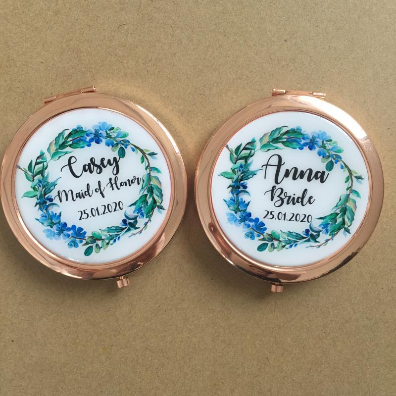Free Shipping 100pcs lot Bridal shower giveaways Birthday Anniversary Gift Personalized compact mirror wedding favors and gifts