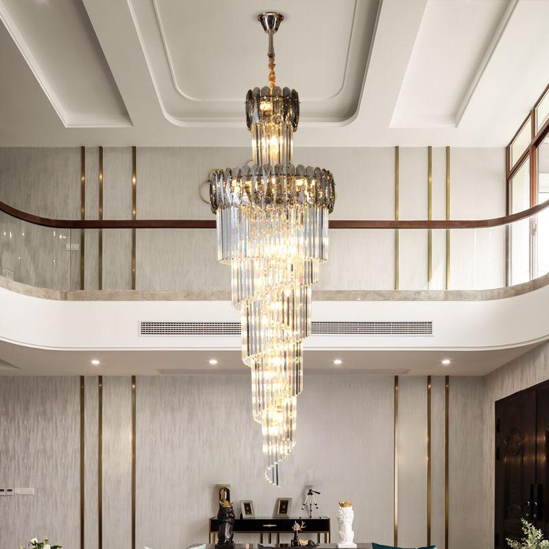 Роскошные хрустальная люстра для лестницы спирали дизайна современных люстр, освещающих коридор лобби Осв.арматуры домашнего декора лампы DHL UPS