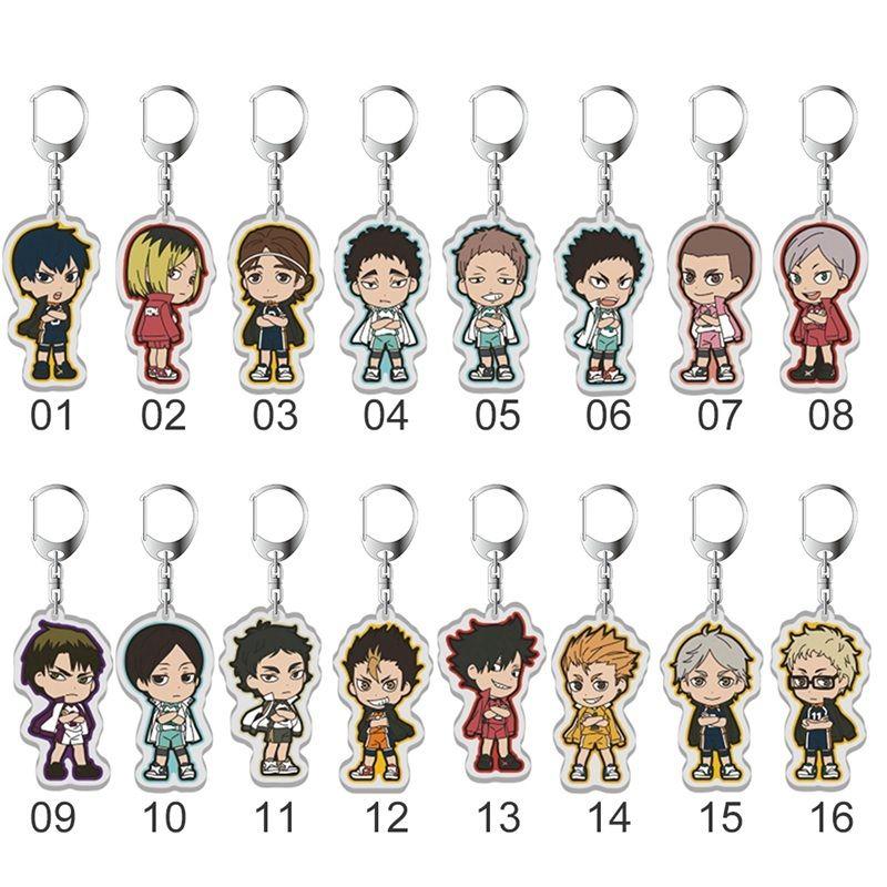 Haikyuu !! Schlüsselanhänger Hinata Shoyo Kageyama Tobio Sugawara Koushi Tanaka Ryunosuke Abbildung Anime Keychain Anhänger Schlüsselanhänger Geschenke
