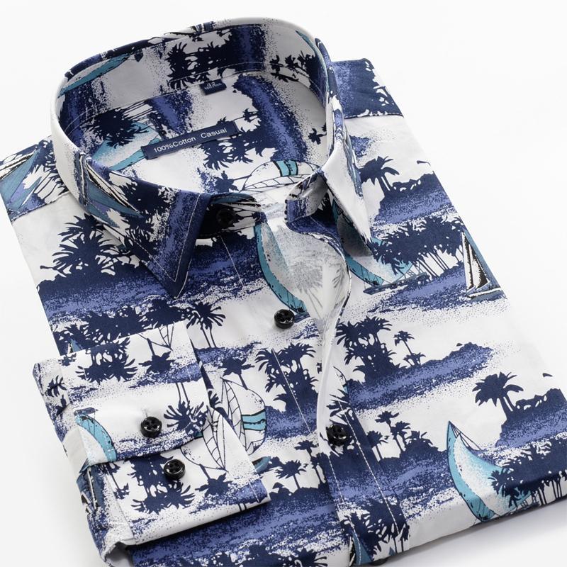 6XL 7XL 8XL 9xl 10xl 100% хлопок Удобная мужская Банкет Элегантный случайный с длинными рукавами Осень Новый завод Printed рубашка