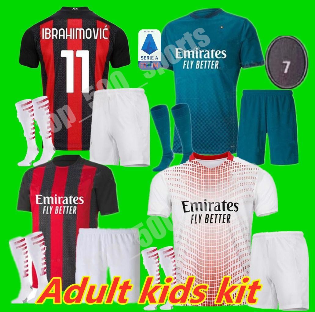 남자 키트 키트 20 21 Ibrahimovic 축구 유니폼 2020 2021 Piatek 홈 멀리 셋째 축구 셔츠 Paqueta Theo 유니폼 Maillot de Foot
