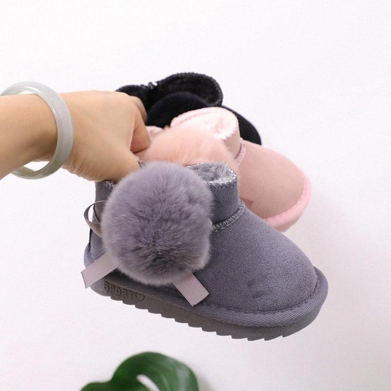 Bottes de neige bébé en fourrure en cuir véritable hiver filles princesse coton Bottes Chaussures pour enfants en coton chaud GPCP #