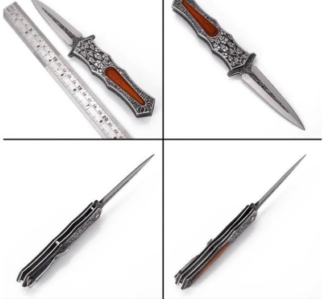 Alta dureza tácticas para acampar al aire libre plegable de múltiples funciones cuchillo de supervivencia cuchillo de caza táctico longitud del pecíolo 12,7 cm