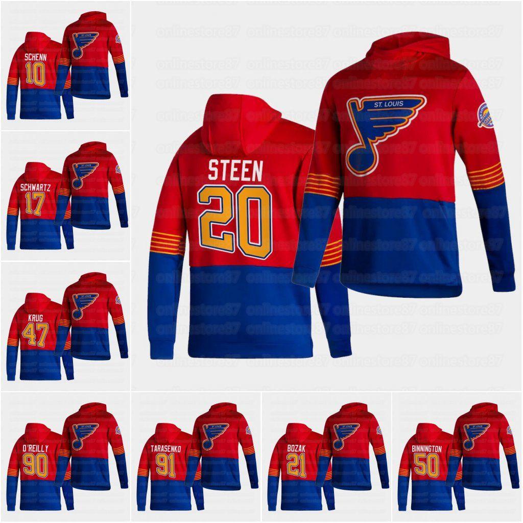 20 Alexander Steen St. Louis Blues 2021 Reverse Retro Hoodie Jersey Zach Sanford Bryden Shinn Joel Edmundson Vladimir Tarashenko Tyler Bozak