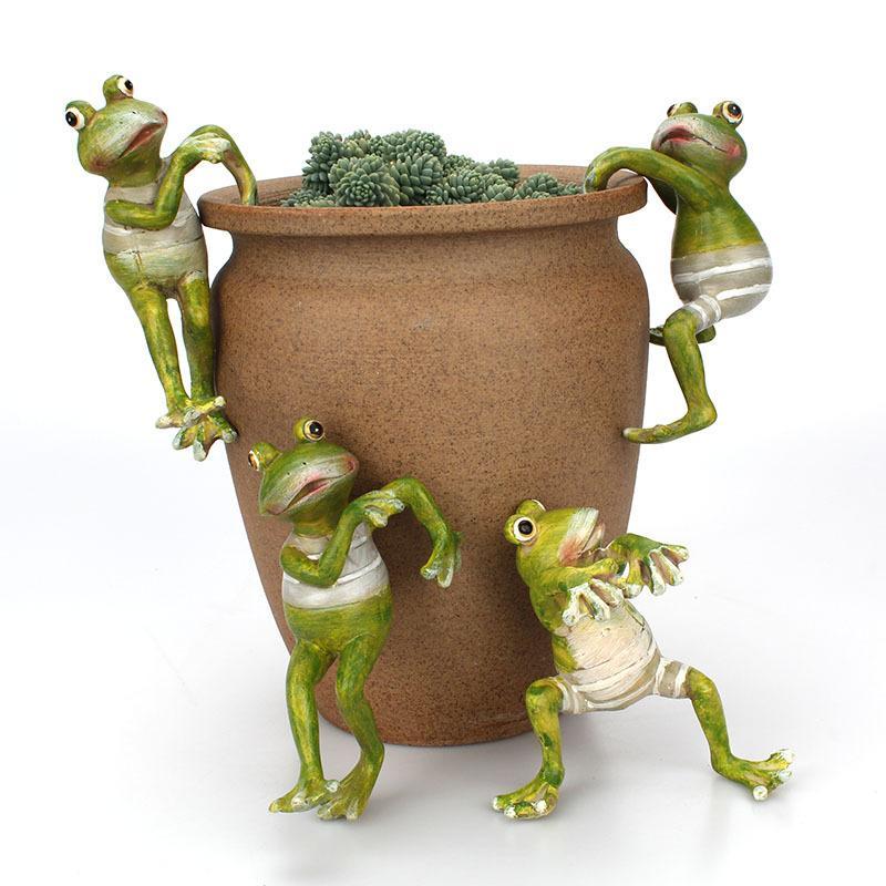 홈 데스크 정원 장식 장식 개구리 분재 장식 잠깐 개구리 야외 정원 화분 장식을 등반 4 개 / 조합 광고