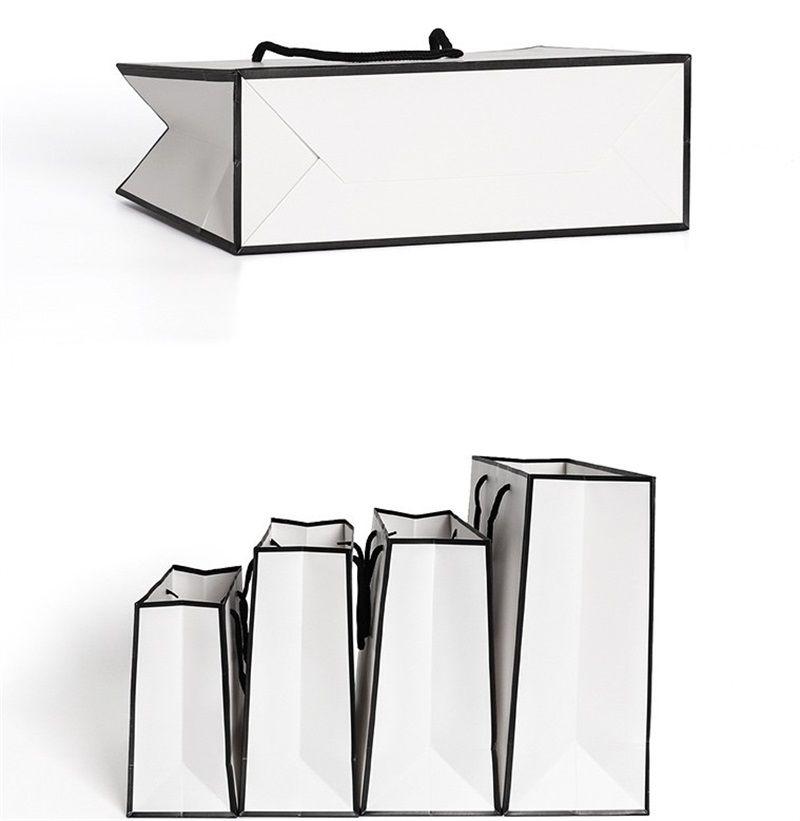 Fashion White Kraft Paper Handbag Good Heavy Tolerance Tote Package Clothing Shoe Cap Gift Packing Wrap 1 86gr L2