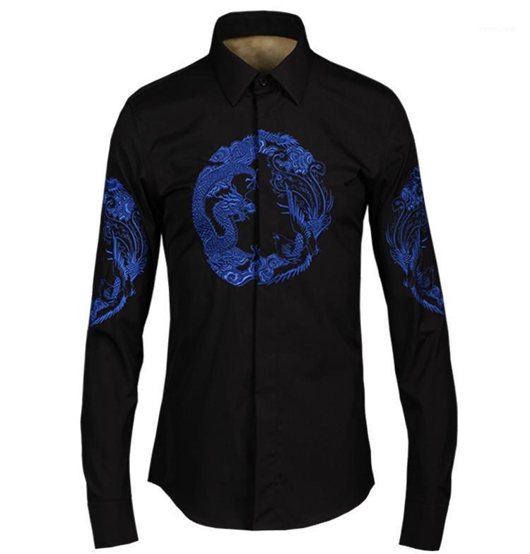 Neue Ankunft Mode Hihg Qualtiy Slim Baumwolle Männlicher Herbst Wohlstand, gebracht vom Drachen und der Phoenix Plus Size M-4XL1