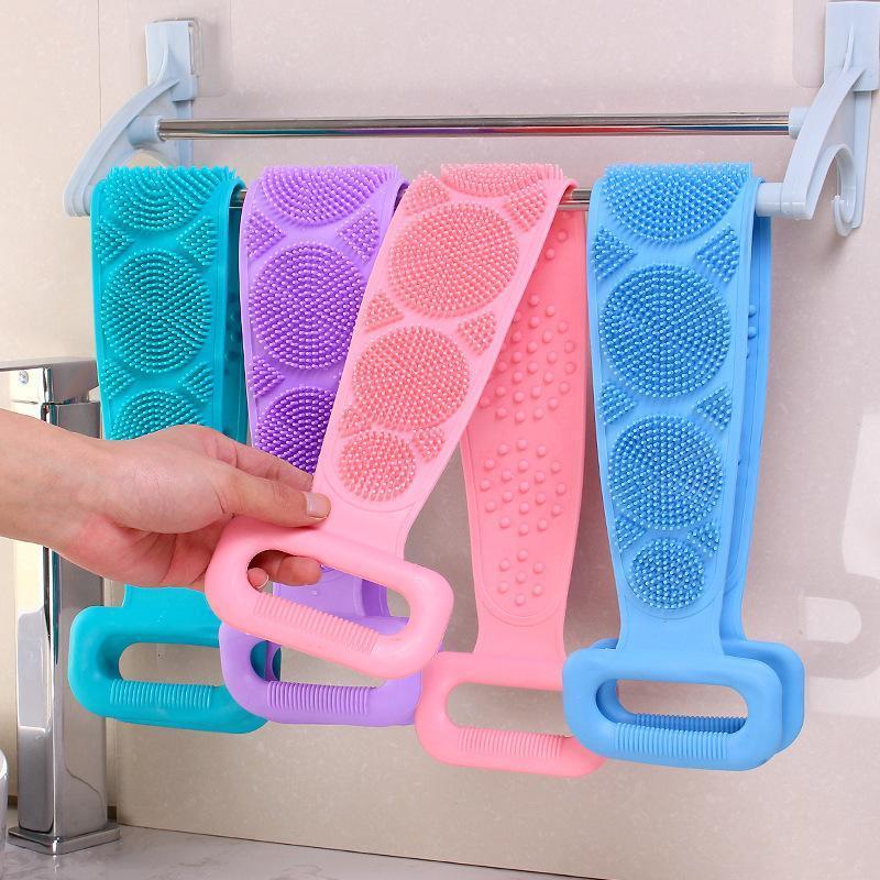 Силиконовые Мягкий Loofah Полотенце Ванна Пояс для тела отшелушивающий массаж Душ для тела чистки ванной душ ремешок