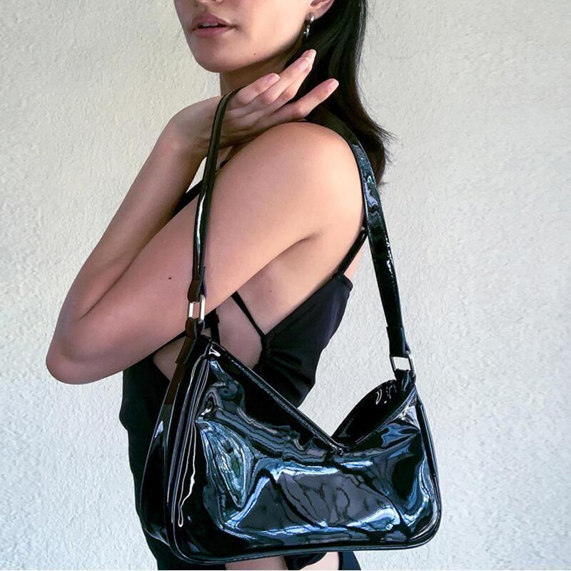 HBP Brand Design Black Patent Baguette Baguette Women 90s Vintage Y2K Mini Bolsas de hombro Harajuku Girls Street Moda Mano Bolso