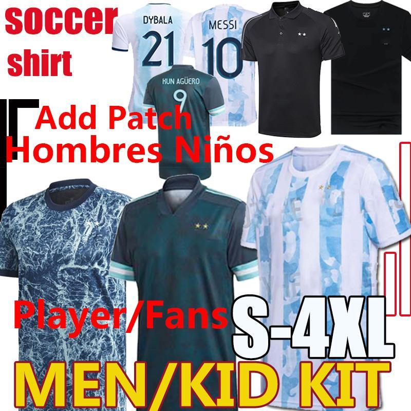أطقم الرجال Kids Maradona الأرجنتين كرة القدم جيرسي 2020 2021 لاعب مشجعي camisetas بولو ميسي dybala dimaria aguera lautaro كرة القدم قميص السراويل