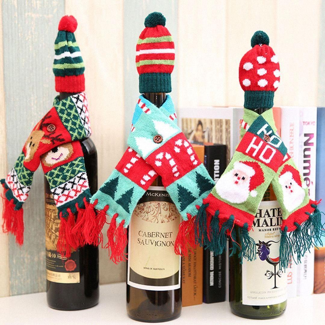 Décorations de Noël pour la maison du Père Noël Bouteille de vin Champagne Couverture de bonhomme de neige Bas Porte-cadeau de Noël Décor Nouvel An HTQj #