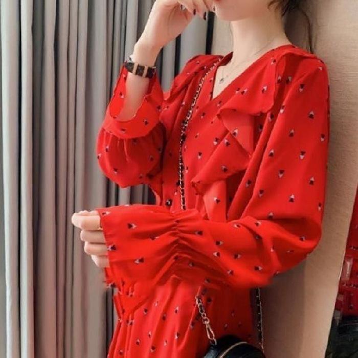 kış 2020 yeni moda akıllı Sonbahar ve kış pantolon Yeni Pantolon füme etek elbise kadın sonbahar uzun kollu V yaka etek dalga noktası Romper