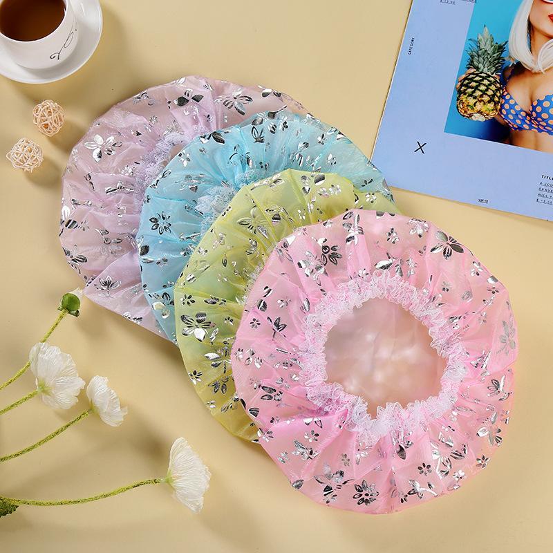 Multi Colors Bath Hut Hot Stamping Rose Gaze Net Doppeldeck Wasserdichte Duschkappe Mode Make Up Caps 1 7qt L2