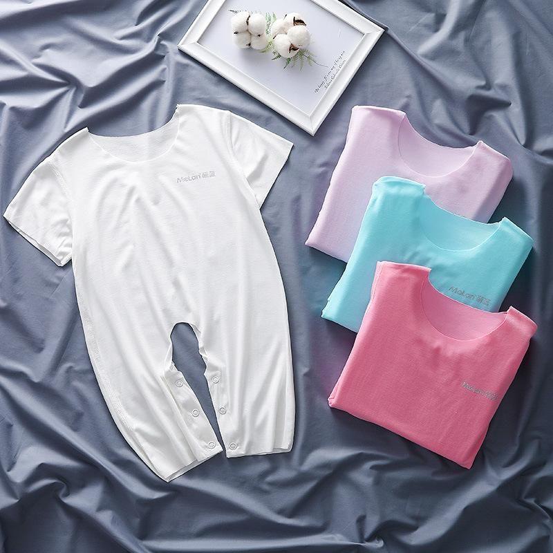 Haoyijia bambini Tuta sottile di estate Aperto modale pigiami del bambino Seamless baby manica corta pagliaccetto