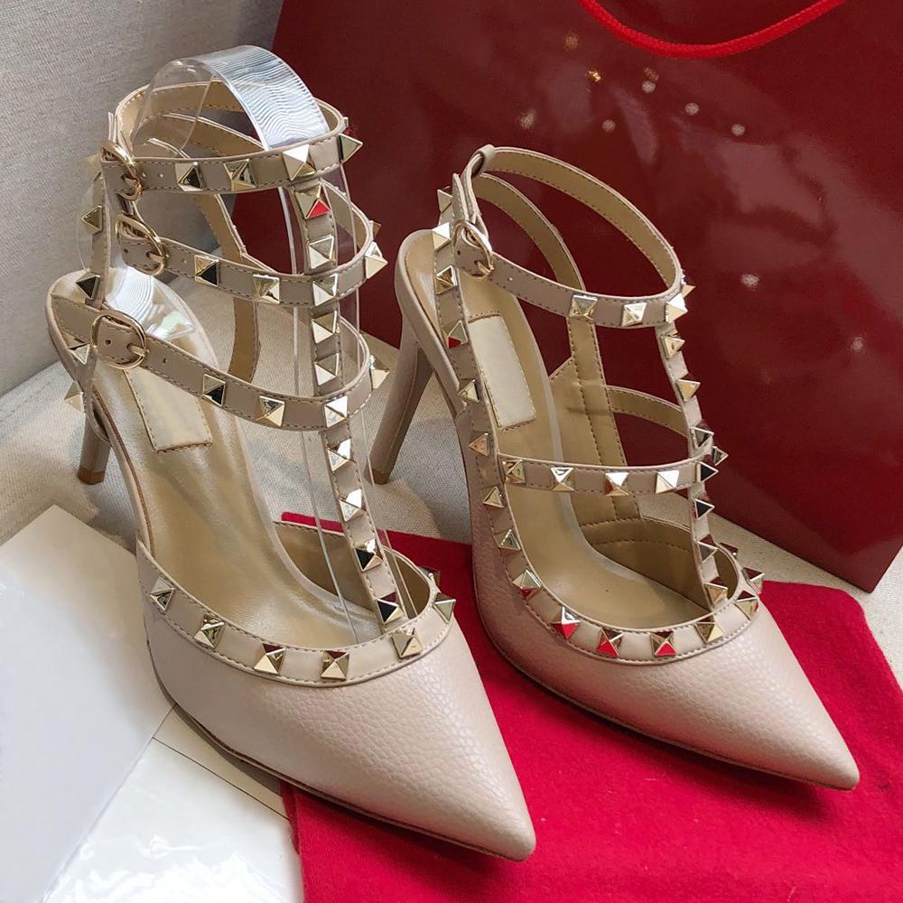 20210Summer Womens Womens Womens Gladiador Sandálias Gladiador Rebite Clássico Três - Anel Lacing Grão Couro Strass Nupcial Sapatos De Casamento