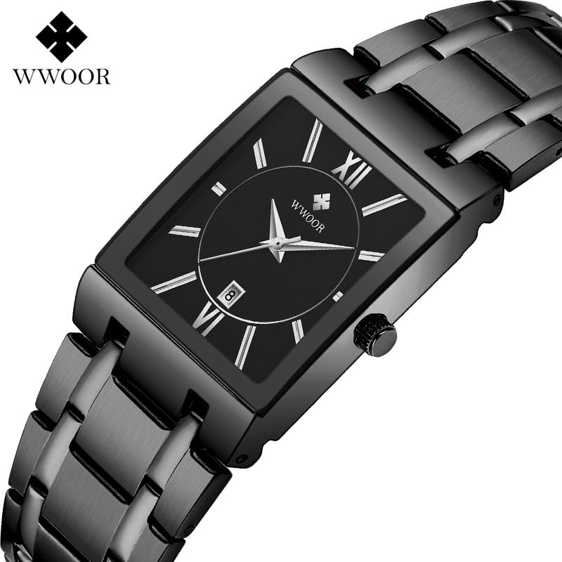 Wwoor Neue Frauen Mode Full Black Watch Damen Quadrat Quarz Armbanduhren Top Marke Luxus Frauen Armbanduhr ZEGAREK DAMSKI Y1220