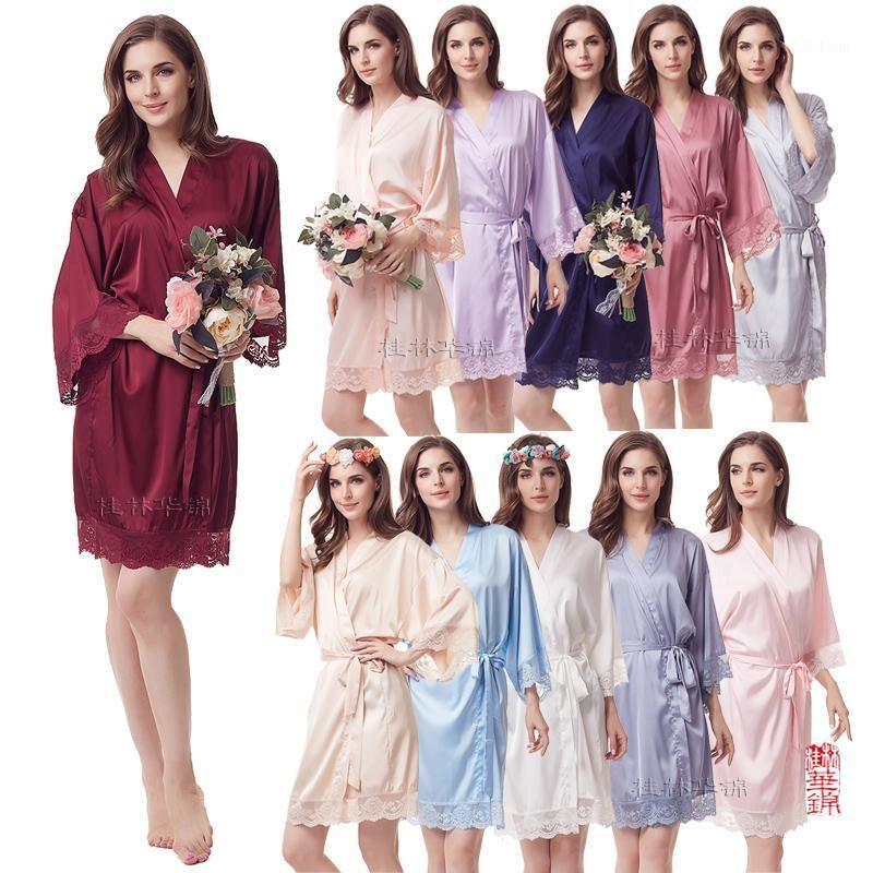 Кружева халат, одежда подружки невесты, шелковые халаты, робичка свадебной одежды, свадебная вечеринка халат шелковистая свадьба свадебные халат A400C1