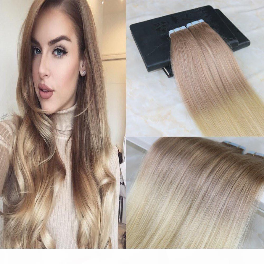Colle en extensions colorées Tête pleine tête deux tons Extensions de cheveux Ombre Dépousser Color Couleur # 18 Cendres Dark Blonde à # 613 20pcs 50g