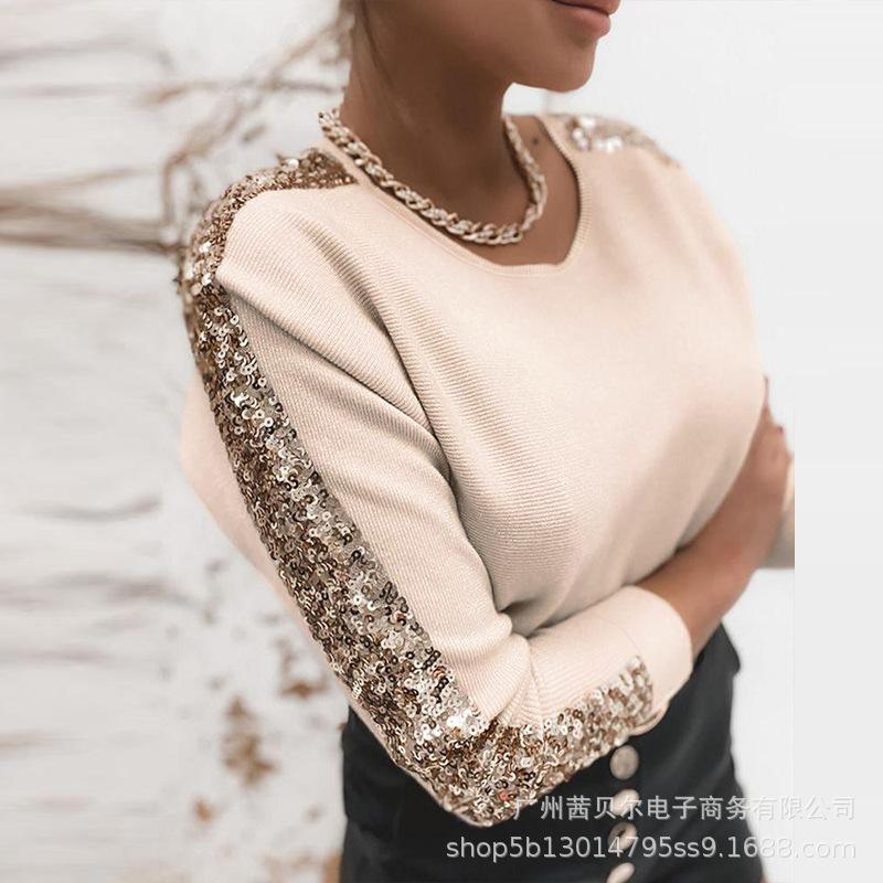 Women Elegant Spring Autumn Sequins Knitted Pullover Shirt Top Casual Ladies Long Sleeve O Neck Knitwear T-shirt Q0104