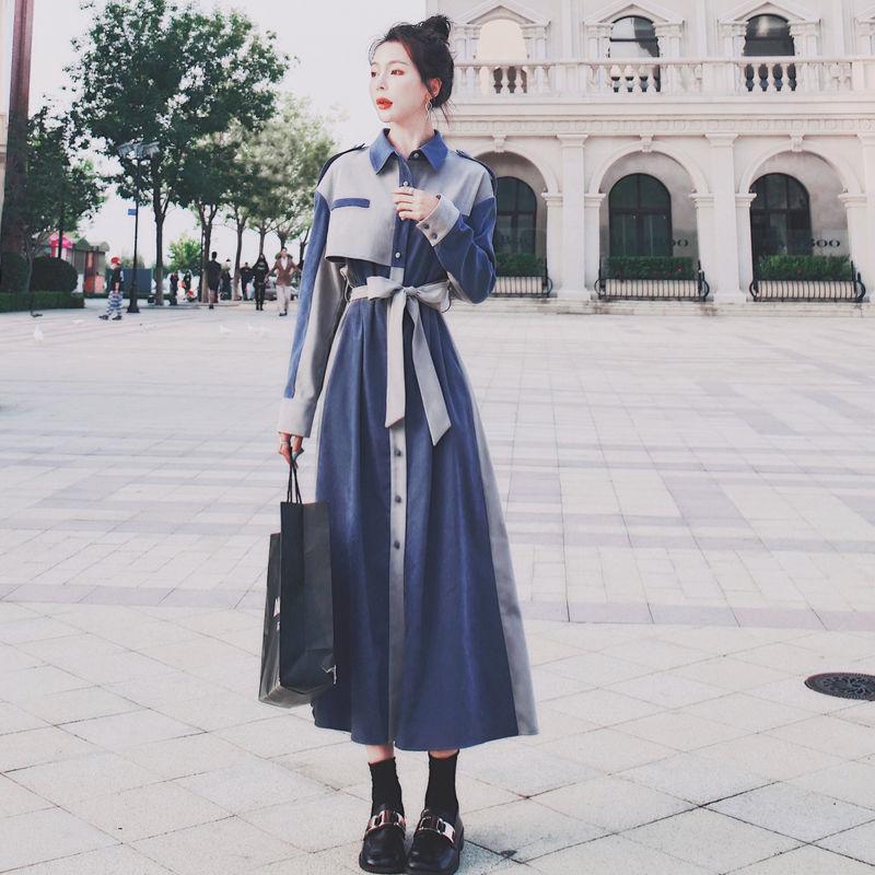 Camisa QWEEK vestido de las mujeres de Corea de manga larga Vestido a media pierna Varios vestidos más el tamaño de remiendo de las mujeres Streetwear de pecho Vestidos