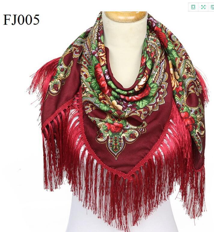 2021 Russischer Stil Frantziger großer quadratischer Schal Warm Winter Baumwolle Baumwolle Baumwollschal Ethnische Art Schal Schal