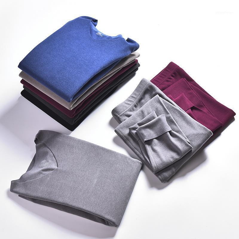 Мужское тепловое нижнее белье зима длинные Джонс сохраняют теплую осеннюю рубашку + брюки установлены толстые мужчины набора