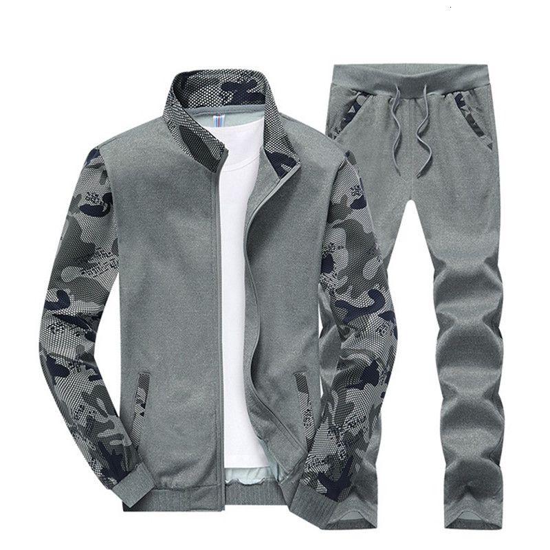 Chándal para hombres Deporte Camuflaje Fleece Conjuntos de hombres Chaqueta Pantalones de 2 piezas Set Sportwear Traje Sudaderas Sudaderas Sudaderas