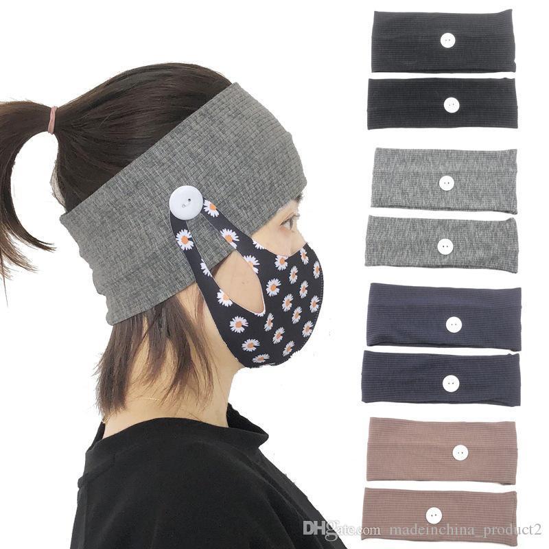 Маска для лица держатель ободки с кнопки Solid Color трикотажные Широкие полосы Тюрбан Hairband Дети Взрослые женщины Момен Упругие Аксессуары для волос