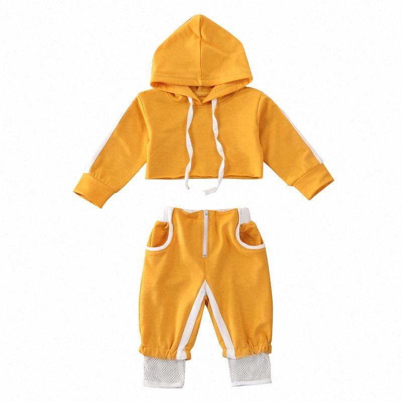 0-24M Toddler Infant Clothes Baby Girls Sport Clothes Sets Solid Long Sleeve Pullover Hood Crop Tops Pants Tracksuit Outfit 4x7T#