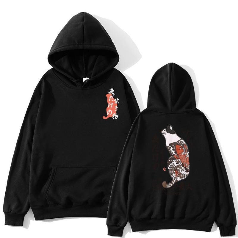 Giapponese Divertente Cat Wave Fleece Felpe con cappuccio Inverno Stile Hip Hop Uomini / Donne Stampato con cappuccio Felpa da stampa casual Streetwear Streetwear X1214