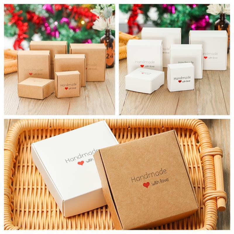 10 stücke handgemacht mit liebe kraft verpackung box schmuck box hochzeitsparty geschenk umhackende seife schokolade süßigkeit quadrat lagerung multi s
