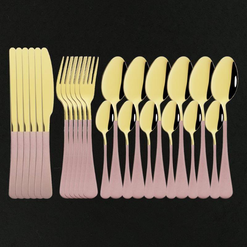 24 unids / 48 piezas de oro de oro cubiertos de cubiertos de acero inoxidable vajilla vajilla conjunto tenedor cuchara cuchillo conjunto regalo caja de plata