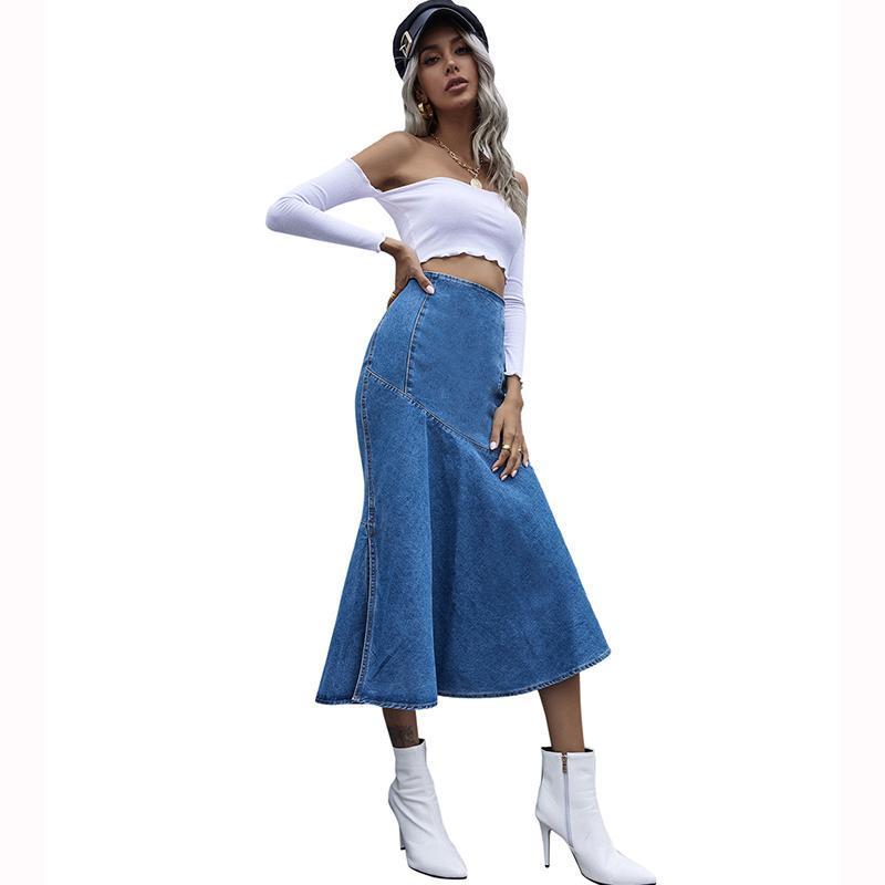 Jyss New Falda para mujer Sin definir Falda de cintura alta Falta Split Denim Slim Long Faldas de estilo coreano Ropa de mujer 30596