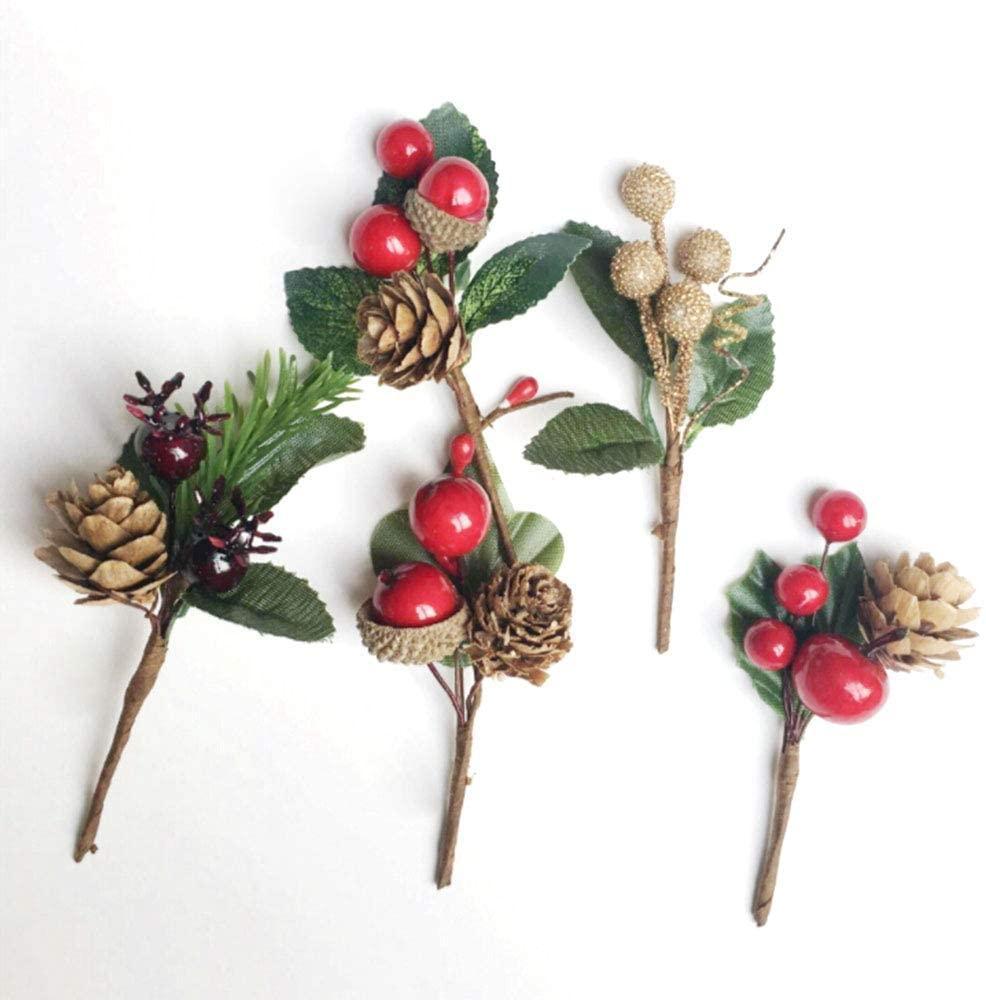 5 шт Искусственный Рождество, шишка выбор мини Xmas Red Berries Шишки Свадебный сад Елка Filler украшения Поддельные ягоды