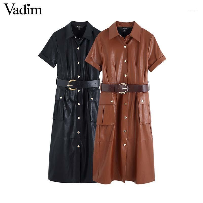 Vadim women stylish PU leather midi dress sashes design pockets short sleeve female fashion casual dresses solid vestidos QD0631