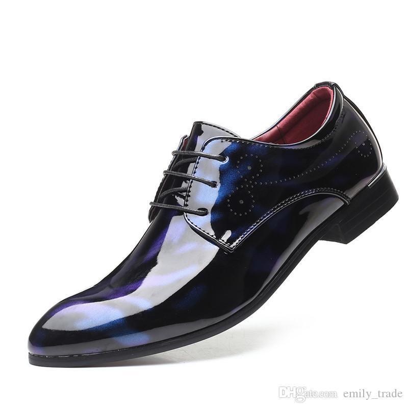 Мужские вечерние платья обувь острым носом дышащий Слип-On Low Бизнес Свадебная обувь модельер мужской обуви