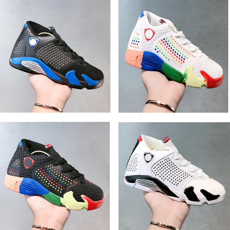 NEW Kids Sneakers 14 XIV Shoes Jumpmans Z Black white Basketball Shoes Navy Black Sport shoes 14s Big Boys Girls Jumpman Sports trainers