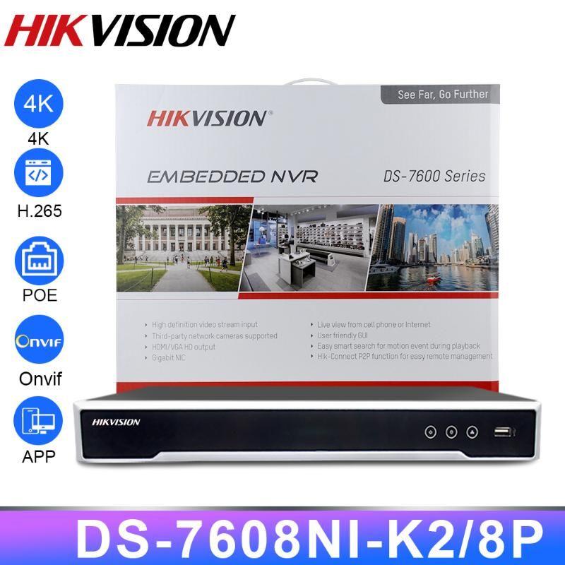 Original Hikvision NVR DS-7608NI-K2 / 8P Network Gravador de Vídeo 8CH 8 Portas PoE NVR para POE IP CCTV Câmera Sistema de Sistema