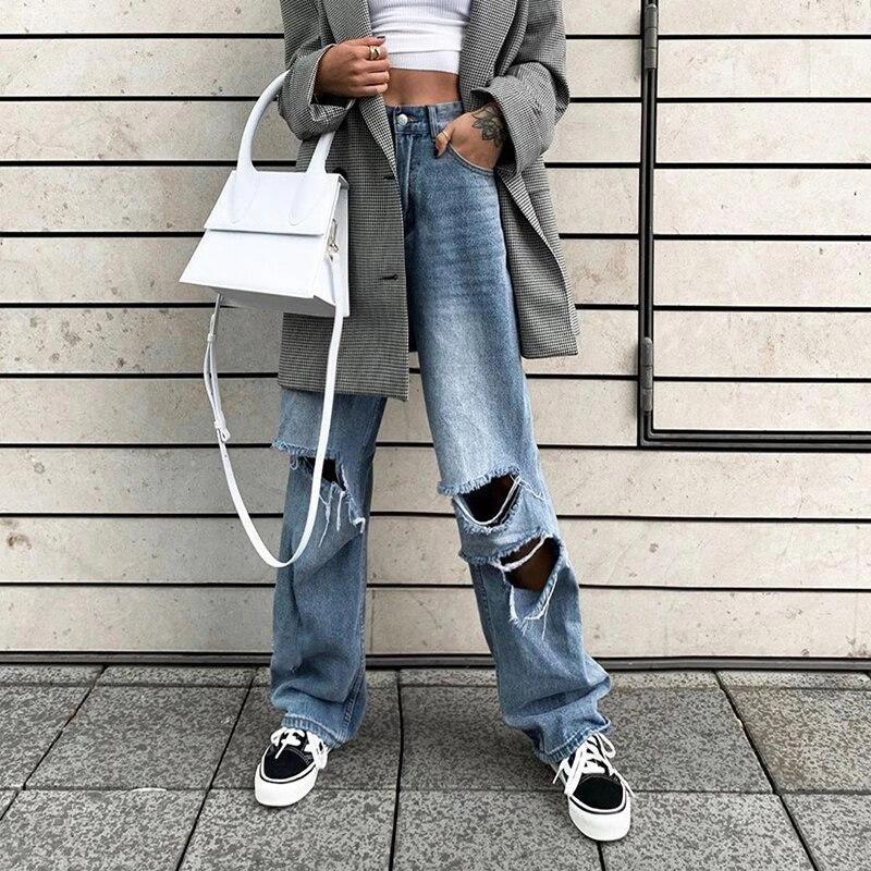 Spring and Autumn Harajuku Hollow Denim Pants Women 2020 Hot Pure Casual Loose Slim Flared Pants Hip Hop Denim1